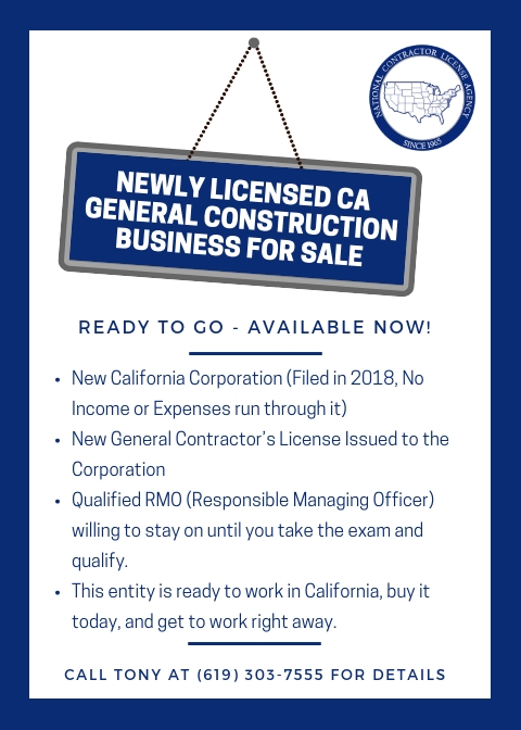 ca general construction | contractor business for sale | general
